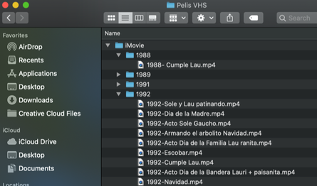 Screenshot of computer video files organized by date
