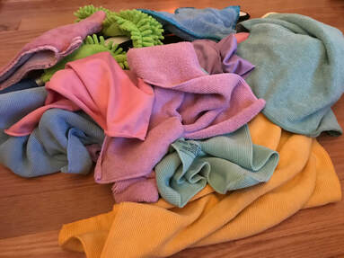 Cleaning cloths unfolded