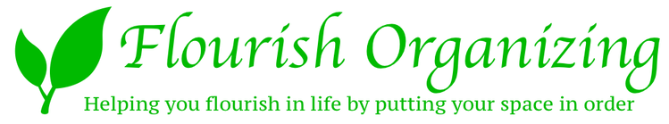 Two green leaves growing logo for Flourish Organizing Company; Helping you flourish in your life by putting your space in order